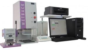 不織布試験装置 (通液度測定器: Lister, 吸収剤液戻り測定器: Wetback)